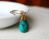 alliteration... gold turquoise earrings / faceted aqua turquoise teardrop & 14k gold filled / december birthstone / gifts under 40