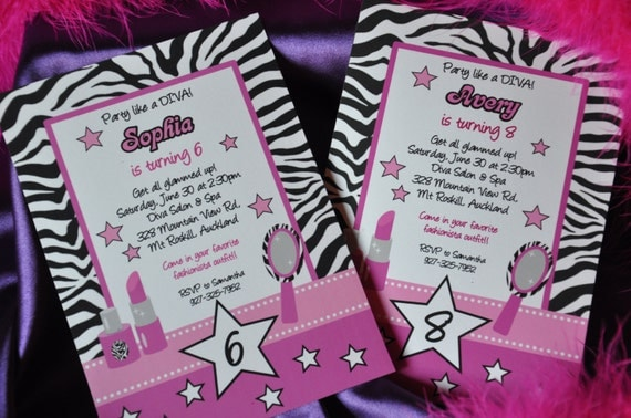 Diva Glam Spa Party Hot Pink zebra stripe pdf printable PERSONALIZED invitations