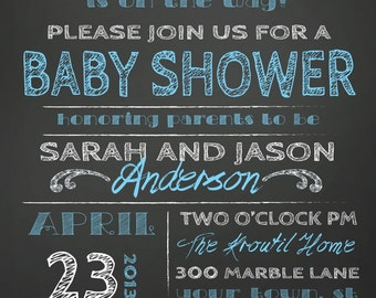 ON SALE! Couples Baby Shower Invitation - chalkboard little man