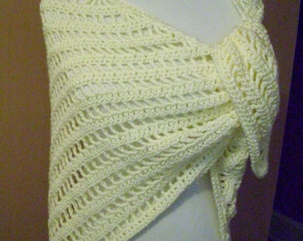 Crocheted Triangle Shawl / Wrap / Scarf / Cream / Off White / Ivory / Natural