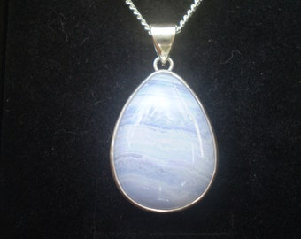 Handmade blue lace agate sterling silver pendant