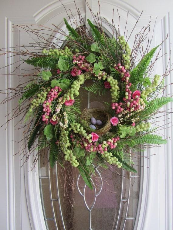 Spring Wreath Easter Wreath Front Door Wreath Bird Nest