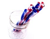 Striped Plastic Thin Straw with DIY Flags - Reusable - Red and Blue - 12 - TheSparrowHandmade
