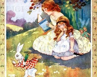 Adorable ALICE Chases WHITE RABBIT. Alice in Wonderland Digital Download. Vintage Illustration. Alice in Wonderland Digital Print.