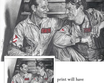 Ghostbusters Bill Murray and Dan Aykroyd Candid Drawing Print