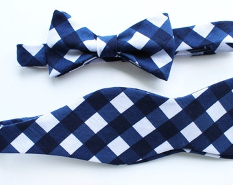 Father Son Bow Tie Sets - Navy Gingham - Father's Day - New Dad