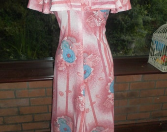Vintage 1973 maxi dress evening prom party costume collectors dress english made by kardia