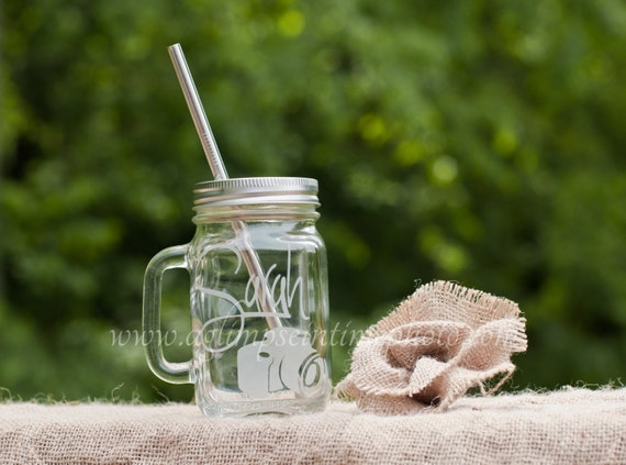 Photographer's Custom Etched Handled Mason Jar To Go Cup With Stainless Steel Straw 16oz Eco Friendly