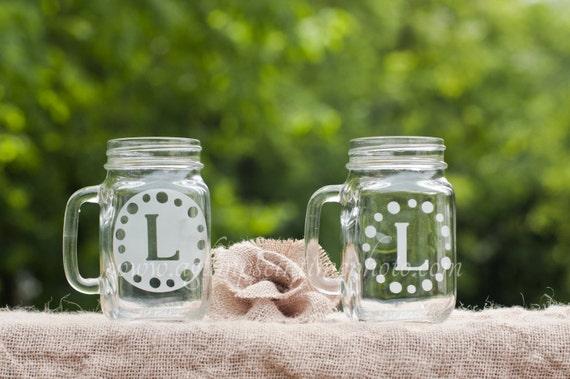 Set of 2 Polka Dots Custom Etched Handled Mason Jar To Go Cup 16oz Eco Friendly