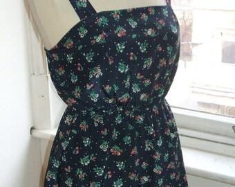 Baylis & Knight Blue Floral POSEY Flower Mini Short SUN Dress Cute Retro Vintage Pinafore Festival Tea Dress