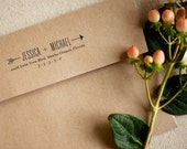 Personalized Return Address Rubber Stamp with Wood Handle - Arrows