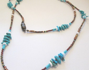 Genuine turquoise beaded necklace or Wrap Bracelet Summer Clearance 40% off