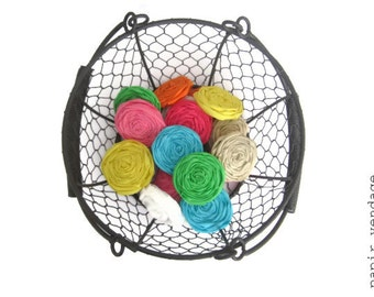 """Fabric Rosettes,  2"""" Rolled Fabric Rosettes, Mixed Colors, Spring and Summer Colors, Set of 10  (2 inch) Rosettes"""