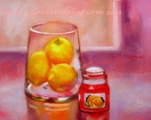 Lemons and Orange Cranberry Candle...Original Oil Painting by Maresa Lilley, SND