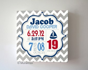 Baby Birth Announcement Nursery Art ,Boys  Nursery  Decor , Personalized Nautical Canvas Art 12x12