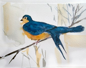 Blue Bird. Watercolor bird. Art original, Watercolor original