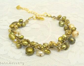 Green freshwater pearl bracelet with crystal on silk thread, green pearl bracelet