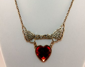 Retro burnished gold winged love heart necklace