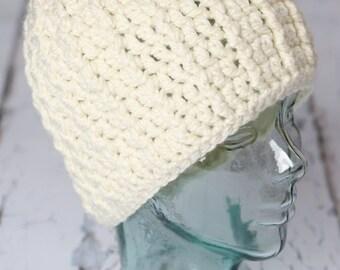 womens beige crochet beenie