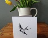Swallow greetings card - Bird Lover's Card - Tattoo Style Card - Sailor's Tattoo Design - Birthday Card - Greetings Card - Swallow Card