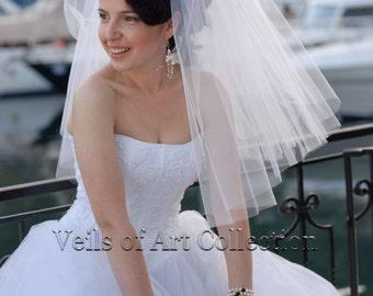 Designer 2 Tier Shoulder Length Square Cut Bridal Veil Style VE177