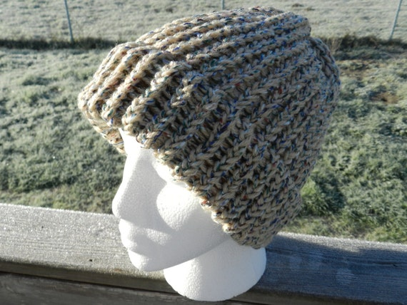 Taupe Knit Hat, Winter Hat, Knit Hat, Loom Knit Hat, Taupe Beanie, Taupe Knit Cap, Handmade Hat, Warm Hat, Unisex Hat
