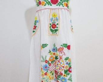Mexican Embroidered Sundress Cotton Strapless In White With Lining, Wedding Dress