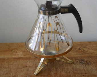 Mid Century David Douglas Coffee Carafe with Candle Warming Stand