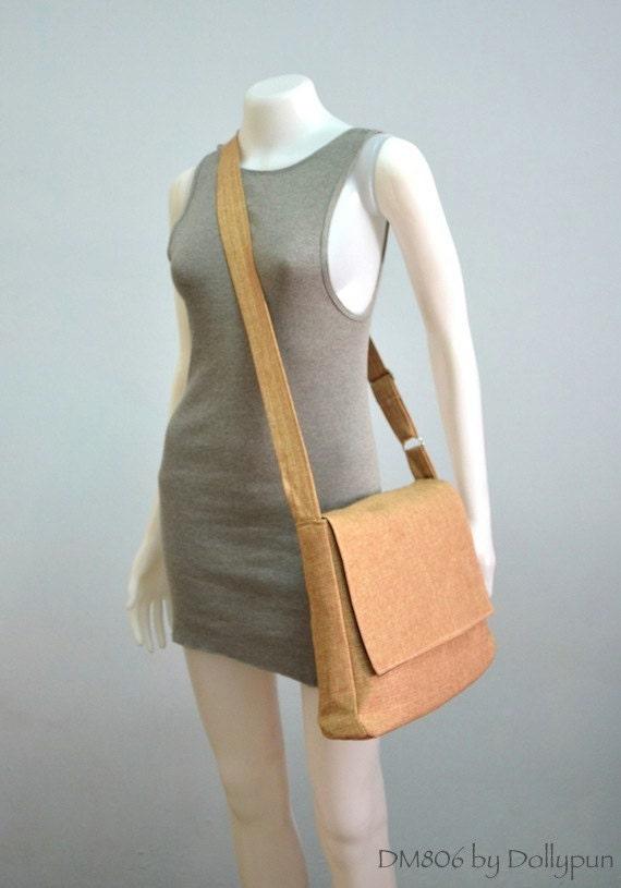 MESSENGER Bag, Laptop bag, Shoulder bag, Briefcase, Cotton, Handbag - BEIGE (DM807)