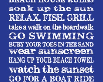 Personalized Beach House Rules, 11x14 Digital Print