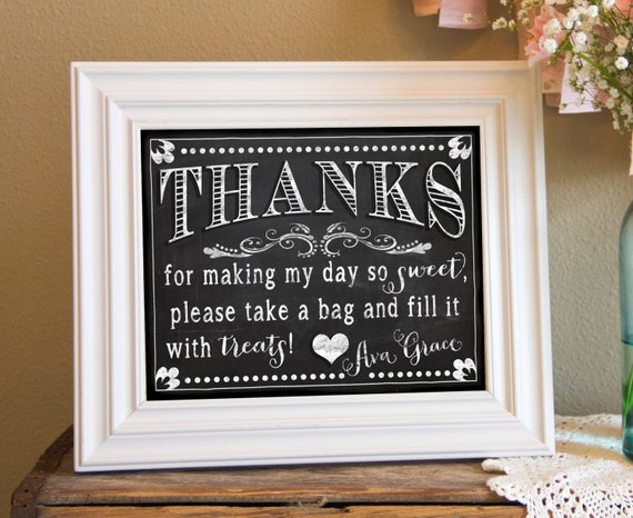 PERSONALIZED & CUSTOM 8x10 Thank You, Thanks, Greeting Sign - Chalkboard, Vintage, Birthday, Baby, Shower, Party