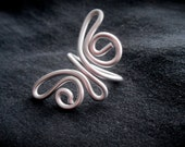 Silver Butterfly Ring - Wire Wrapped Jewelry - Adjustable