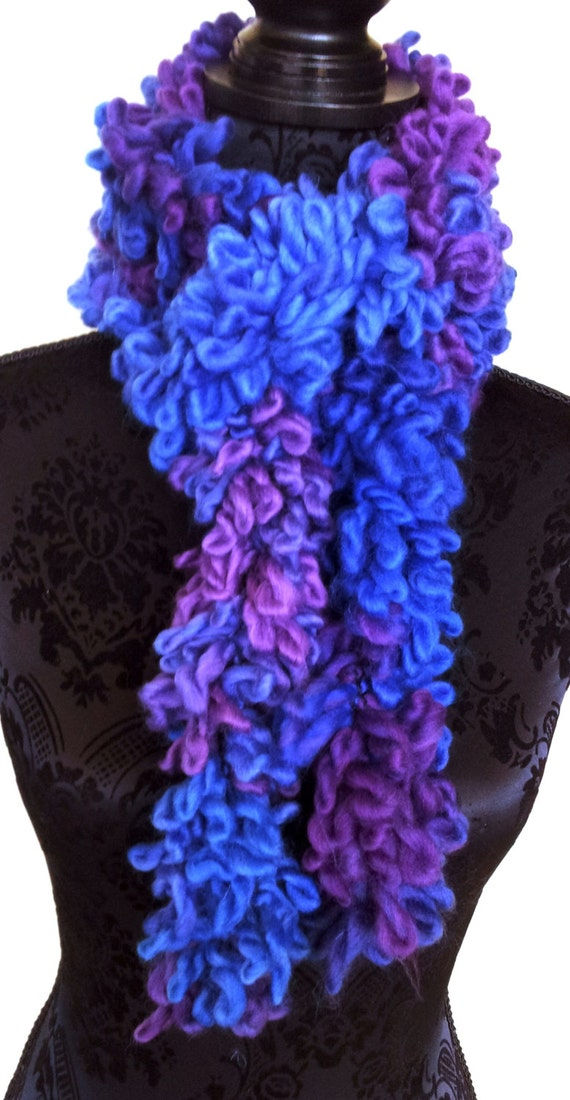Loopy Boa Scarf in Purples and Blue Handmade by ...