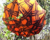 Reserved for lady astor Umbrella or Parasol, Pagoda Shaped, Orange and Black Pattern with Wooden Handle