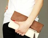 Fold clutch Brown , Ecru Faux Leather Clutch