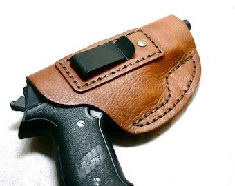 Gun Holster. Brown leather automatic gun holster for your concealed carry weapon ccw for medium frame automatic