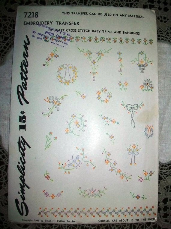 Vintage 40s Embroidery Transfer Baby Trims and Bandings Pattern