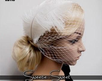 Bridal Veil, Wedding Veil, Bridal Comb, Face Veil, Birdcage Veil, mini veil, Blusher veil, Vintage Flower Fascinator, Head pieceHB110
