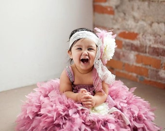 Mauve Dust pink lace feather dress ivory flower headband pageant holiday birthday photo shoot vintage baby girl toddler tutu prop wedding