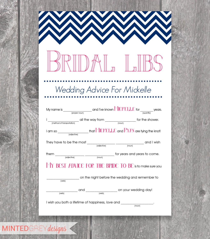 Printable Chevron Bridal Libs Mad Libs Bridal Shower Game