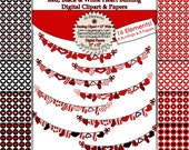 Red and Black Heart Bunting Digital Clipart & Digital Paper - Instant Download, 1 inch Digital Circles, Red Heart Banner Flags