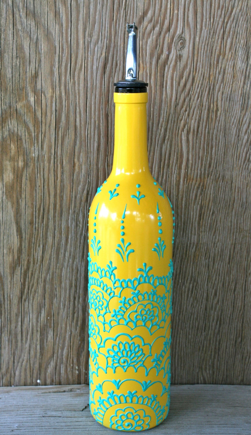 Hand Painted Wine bottle Olive Oil Pourer Sunny Yellow and
