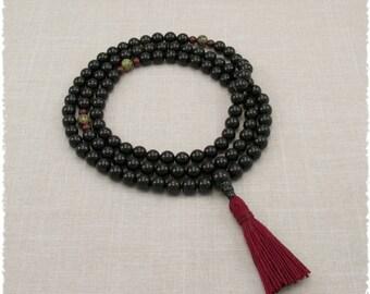 Black Onyx Mala Beads Necklace - Prayer Beads - Strength & Courage - Masculine - Mediation Mala - Item # 985