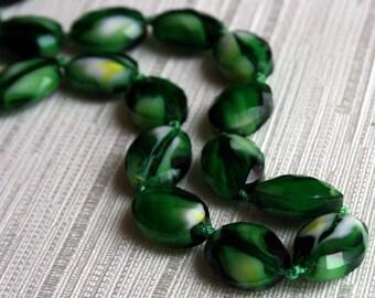 Glass Beads, Bead, Supplies, Czech glass Dark green czech glass oval faceted beads 5