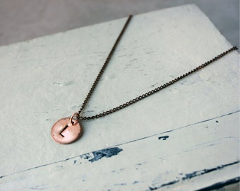 Hand stamped jewelry - personalized - initial necklace - LISA custom copper disk necklace