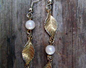 Asymmetrical Gold Plated Leaf Earrings with pearlized beads