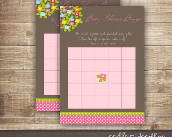 Baby Shower Bingo Card  / Flowers and Woodland Pink & Green Baby Shower Bingo / Baby Girl Shower - INSTANT DOWNLOAD - Printable