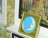 SALE 5.00 Miniature dollhouse moon picture in vintage frame