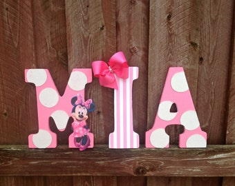 9 Pink And White Minnie Mouse Character Letter Wall Hangings Name Room Decoration Girl 39 S