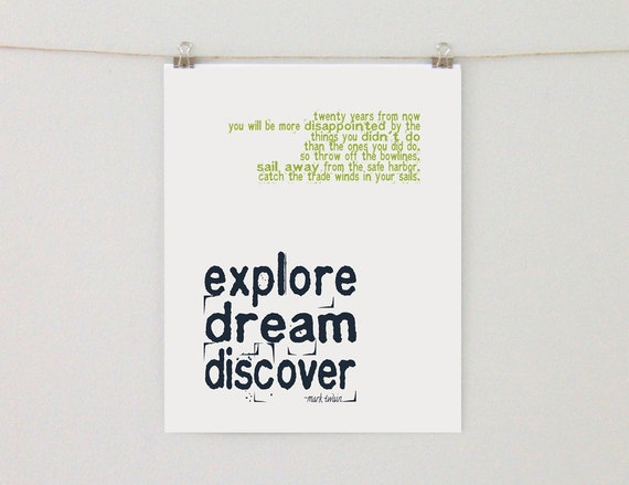 Explore. Dream. Discover. 8x10 or 11x14 Art Print, Inspirational Quote, Travel Quote, Mark Twain